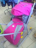 Комфортные и надежные складные санки-коляска «ника детям 3» с колесами и перекидной ручкой