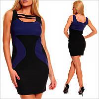 Черное платье с синими вставками, молодежные платья