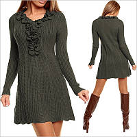 Вязаное платье цвета хаки, теплые платья
