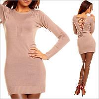 Однотонная коричневая туника-платье, стильные туники
