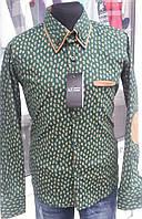 """Рубашка для мальчиков зеленого цвета рисунок """"турецкие огурцы"""""""