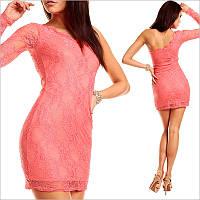 Кружевное платье с одним рукавом, модные женские платья