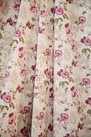 Ткань в стиле прованс, рисунок мелкая розовая роза