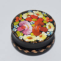 Украинские сувениры. Шкатулка деревянная расписная. Букет с мальвой