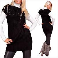 Женская черная вязаная туника с камнями,нарядное вязаное платье