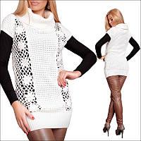 Женская вязаная туника с коротким рукавом белого цвета,  теплая женская одежда