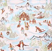 Декупажная салфетка Лыжный курорт 4053