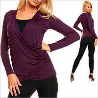 Двойная фиолетовая женская кофточка, весенние женские кофточки