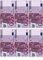 """Съедобные деньги"""" 500Евро 6шт.на А4""""(код 00509)"""
