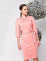 Женское платье Надин персиковое трикотажное с длинным рукавом и удобными функциональными карманами