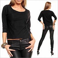 Черная женская кофта с рукавом 3/4, интернет магазин женской одежды