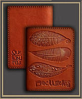 Оригинальная обложка для автодокументов из натуральной кожи ручного дубления