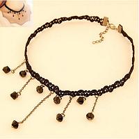 Новинка! Модное популярное женское кружевное ожерелье, украшенное подвесками с бусинами, цвет - черный