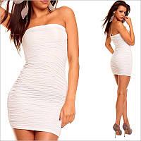 Платье без бретелек белое, короткие платья