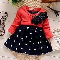 Детское теплое платье для девочки (выбор цвета)