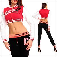 Короткая женская кофта спортивная, красная спортивная кофта
