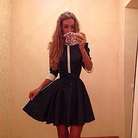 Джинсовое летнее платье в горошек