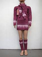 Вязанная туника с шарфом и гетрами для девочек тройка Бордо