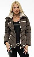 Зимняя женская куртка шоколадного цвета