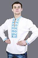 """Вышиванка  """" Подильська ватра """" мужская с голубой вышивкой"""