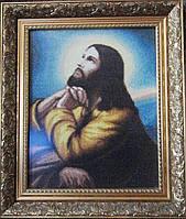 Икона «Молитва Господня» ручной работы вышитая крестом