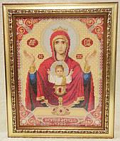 Икона «Неупиваемая чаша» ручной работы вышитая крестом