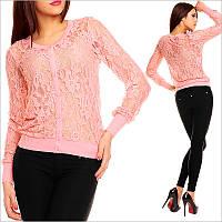 Кружевная розовая женская кофта