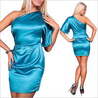 Платье цвета морской волны с ассиметричным верхом