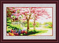 """Набор для рисования камнями (холст) """"Весенний сад"""" LasKo (54 x 33.5 см)"""