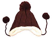 Детская вязаная темно-коричневая шапка с помпоном