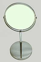 Зеркало металлическое настольное двухстороннее (круглое),h-34,5 см