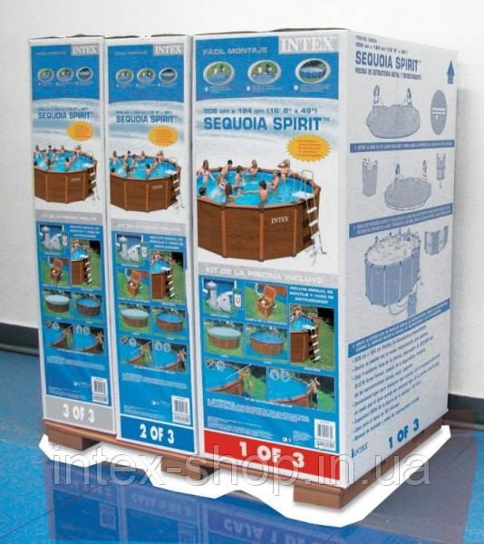 intex 54968 sequoia spirit wood grain frame pool 569x135. Black Bedroom Furniture Sets. Home Design Ideas