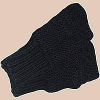 Вязаные рукавички-митенки черного цвета