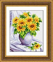 """Набор для рисования камнями (холст) """"Подсолнухи в вазе"""" LasKo TK031 (32х39 см)"""