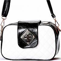 Женская сумка - клатч черный с белым