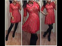 Короткое платье из гипюра с атласной подкладкой рукав 3/4 в цветах 111м