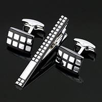 Запонки и зажим для галстука Серебряные квадраты