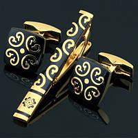 Запонки и зажим для галстука Золотой цветок в чёрном