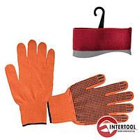 Перчатка х/б трикотаж с точечным покрытием PVC на ладони (оранжевая), SP-0131