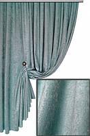 Портьерная ткань шенилл плюшевый, цвет светло-бирюзовый