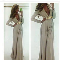 Длинное платье в пол с поясом и длинным рукавом