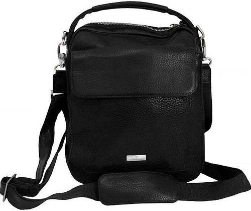 Молодежная стильная кожаная сумка Vip Collection 1444A flat черная