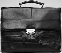 Деловой мужской кожаный безкаркасный на плечо Vip Collection 1229A flat черный