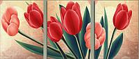 """Триптих картина вышитая крестом """"Тюльпаны"""""""
