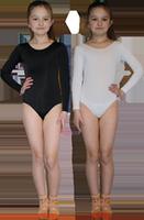 Купальник гимнастический х/б  длинный рукав черный/белый р-ры 30-42