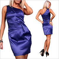 Синее платье с ассиметричным верхом