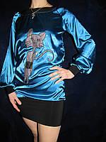 Нарядное платье-туника из стрейч-атласа с аппликацией, S-M