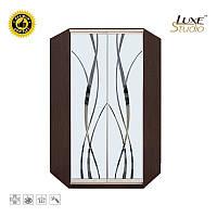 Угловой шкаф-купе с рисунком пескоструй на 2 двери