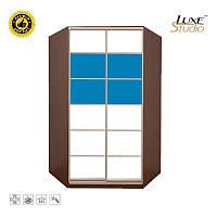 Угловой шкаф-купе тонированные зеркала + пескоструй + цветные стекла