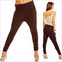 Темно-коричневые женские брюки c мотней